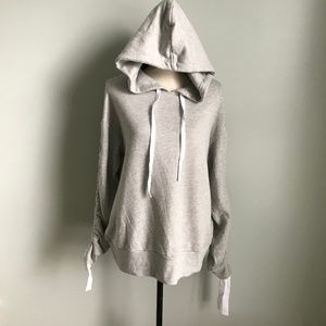 New Gibson Gray Hoodie With Tie Sleeves